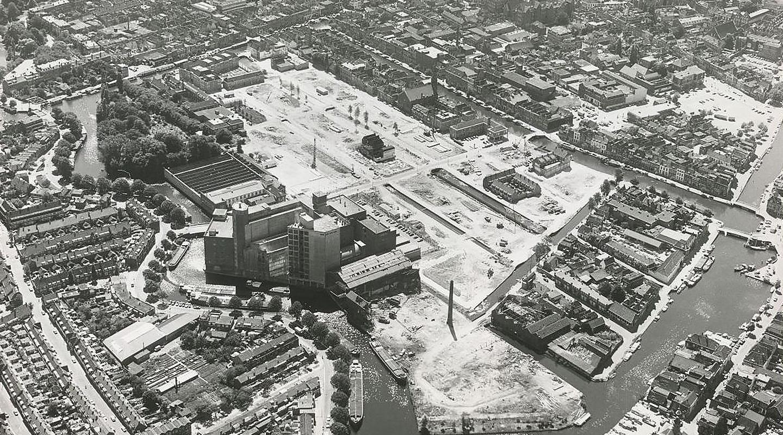 Historie De Meelfabriek Luchtfoto industriegebied zw