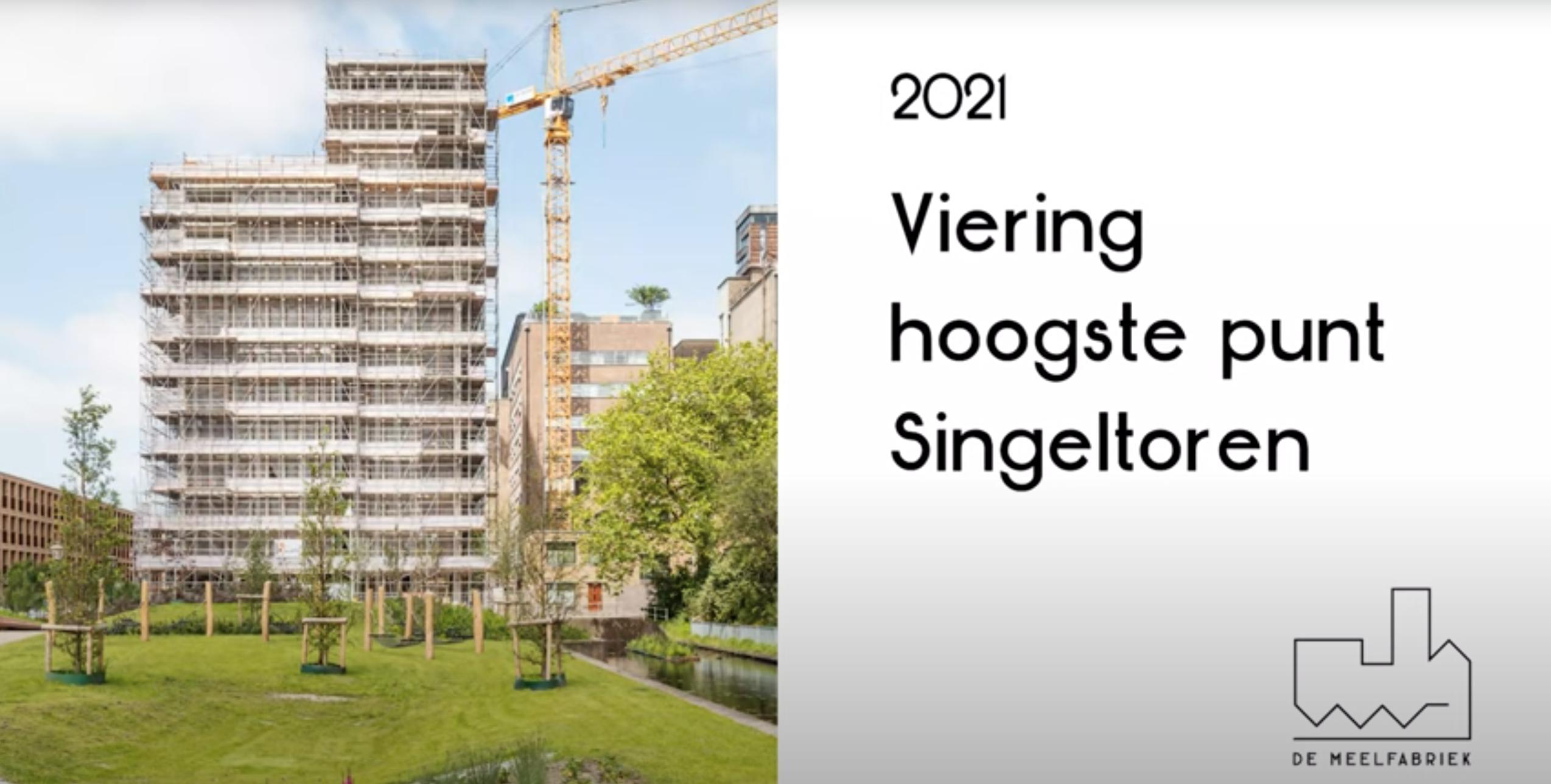Hoogste punt Singel toren. De Meelfabriek in Leiden
