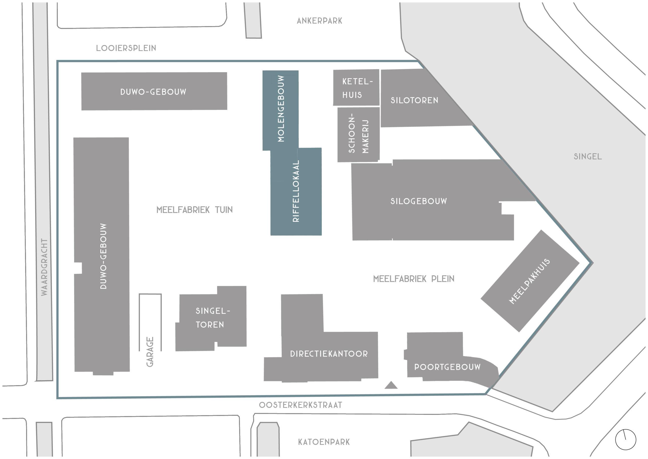 Overzicht Molengebouw en Riffellokaal De Meelfabriek